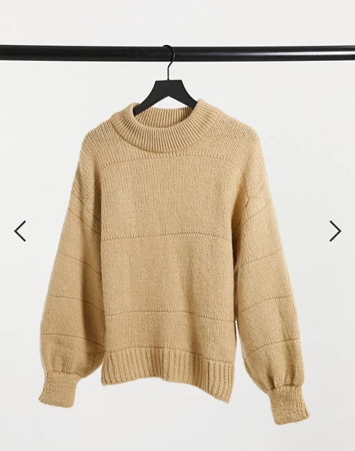 Oversized jumper with stripe stitch detail in oatmeal
