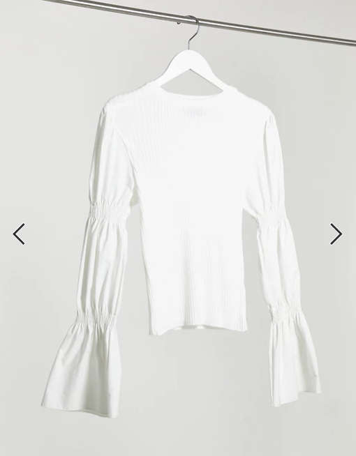 Jumper with puff sleeve detail in cream